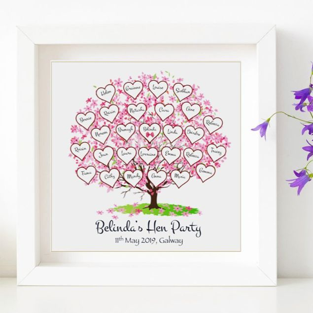 Personalised Framed Hen Party Attendee Names Tree Gift