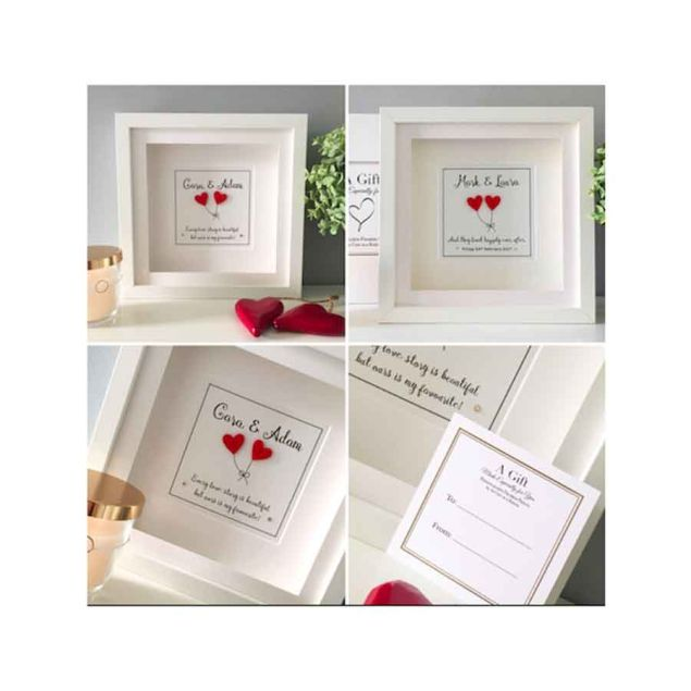 Personalised Love Hearts Wedding Gift Framed Picture