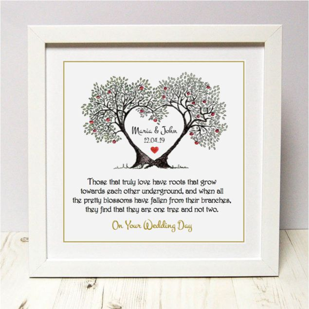 Personalised Wedding Tree Roots Framed Picture