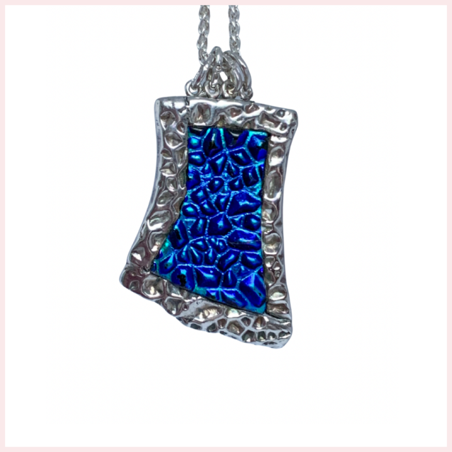 Sterling Silver and Blue Turquoise Dichroic Glass Pendant