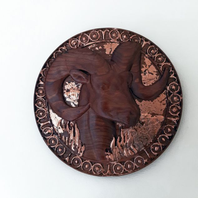 Handcrafted Irish Wood Plaque With Aries Zodiac Symbol