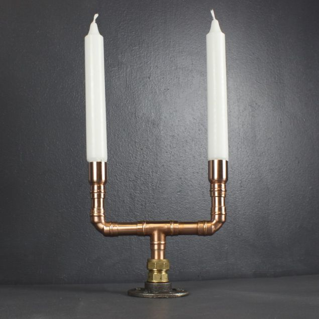Duo Recycled Copper Table Centrepiece Candelabra