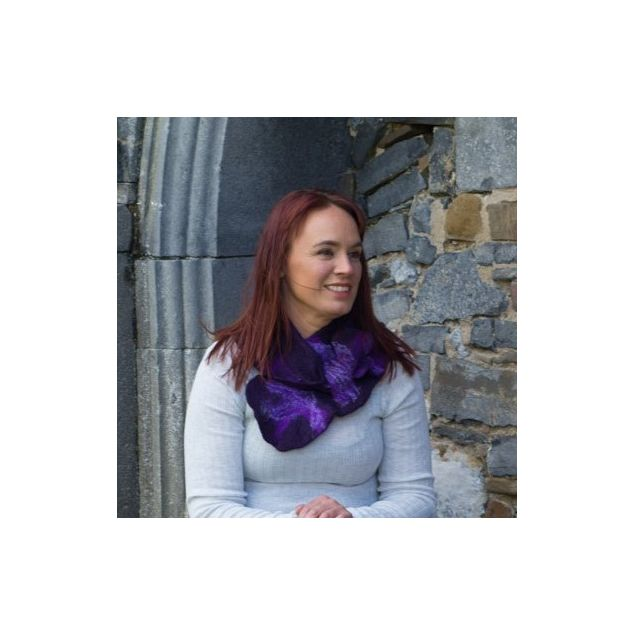 Irish Handmade Plum Felted Merino Wool Collar