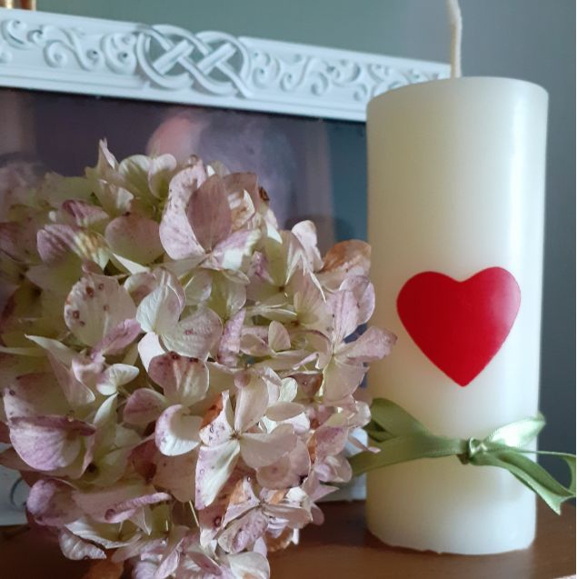 Red Heart Ivory Beeswax Candle 13cm in Height