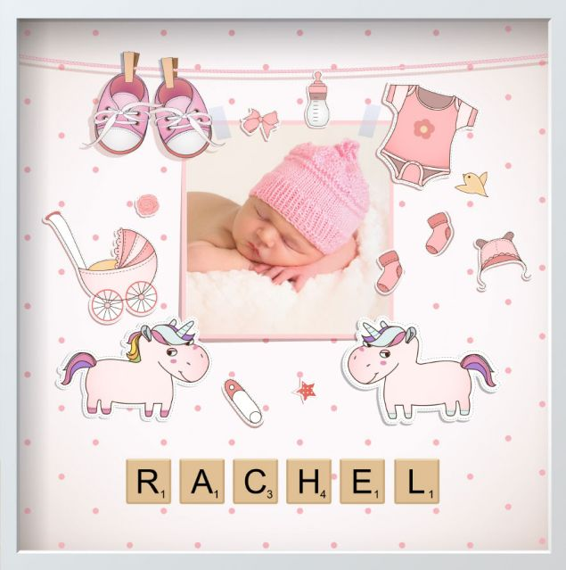 Pink Personalised Newborn Baby Girl Framed Photo with Name