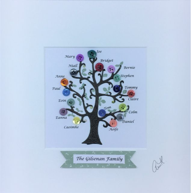 Personalised Family Button Tree Frame
