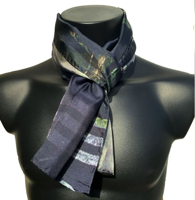 100% Black and White Mens Silk Scarf
