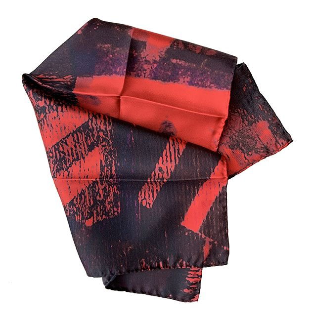 100% Red and Black Silk Pocket Square