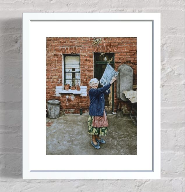 Hanging The Washing Out in Belfast Art Print