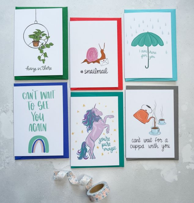 Set of 6 Mixed Irish Made Positive Message Greeting Cards