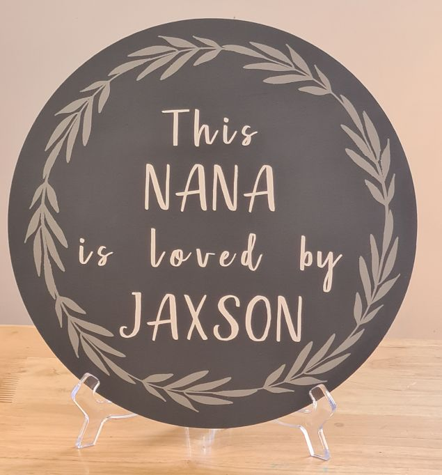Personalised Nana or Grandad loved by hanging sign