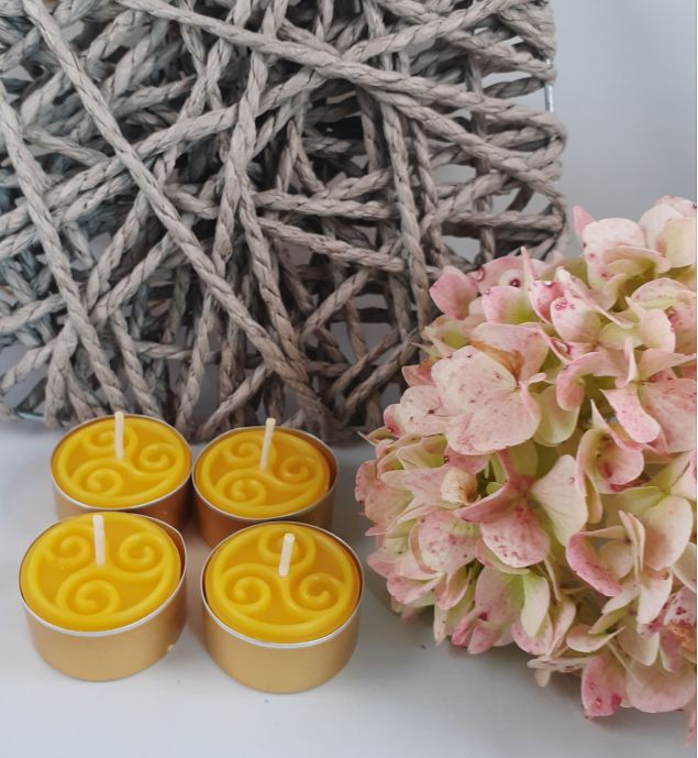 Beeswax Tealight Candle Set with Celtic Design