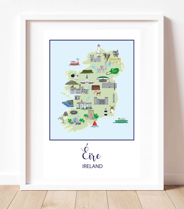 Illustrated Map of Ireland A3 Art Print