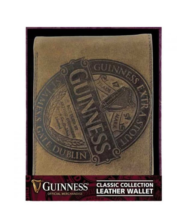 Brown Classic Leather Wallet with Guinness Logo