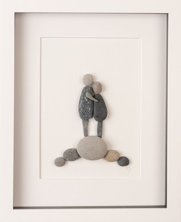 Personalised Lovers Embraced Pebble Art Framed Picture