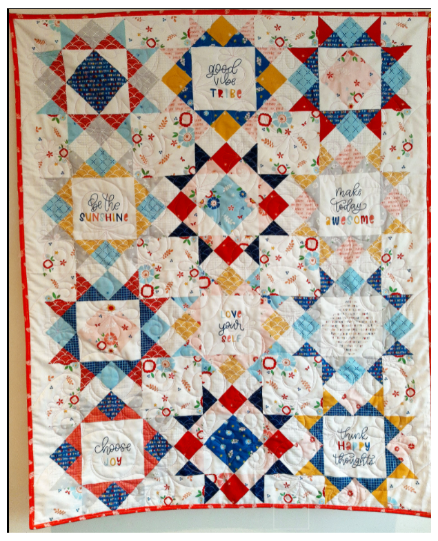 Personalised Newborn Baby Patterned Quilt with Stars