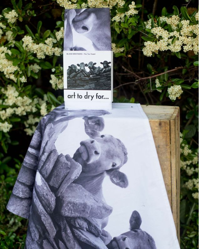Linen / Cotton Tea Towel - Hand Printed Jersey Cows Blood Brothers