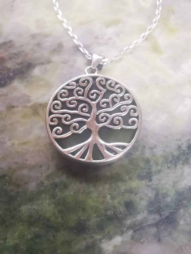 Connemara Marble Tree of Life Pendant Necklace Sterling Silver