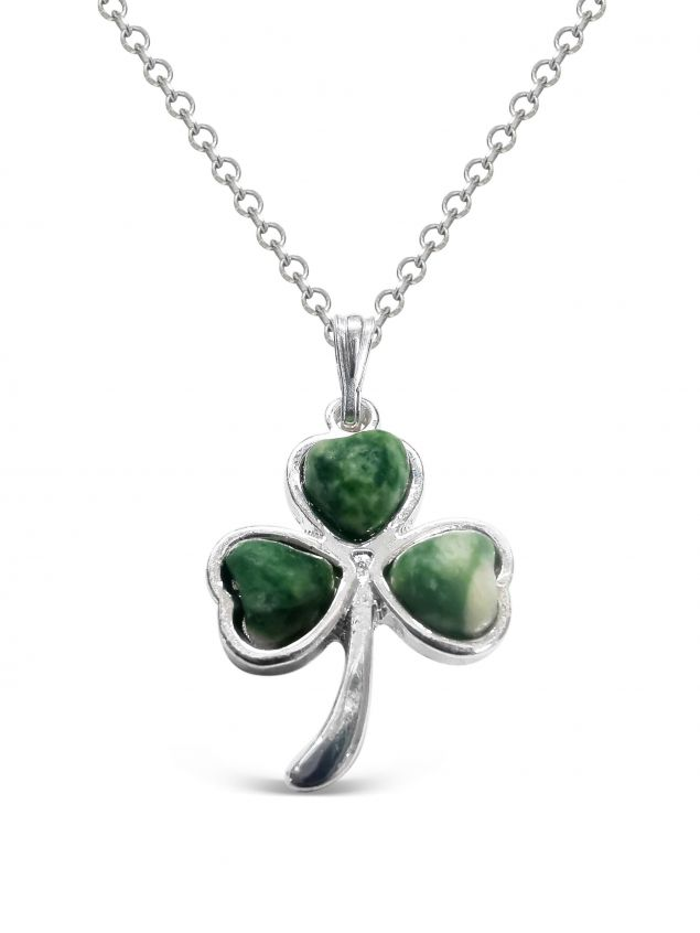 Tree Agate Shamrock Pendant Handmade in Ireland