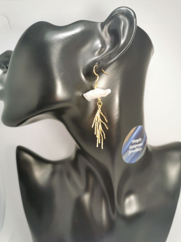 Baroque Pearl & Gold Branch Elegant Earrings.