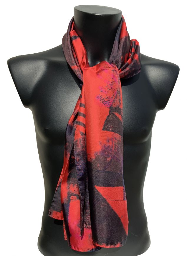 100% Mens Red and Black Silk Scarf